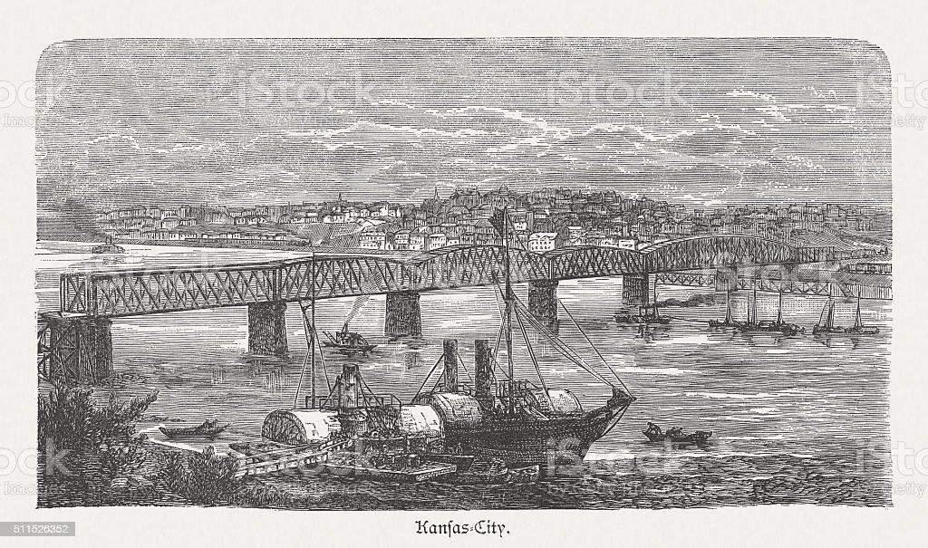 Kansas City on the Missouri River, wood engraving, published 1880 vector art illustration