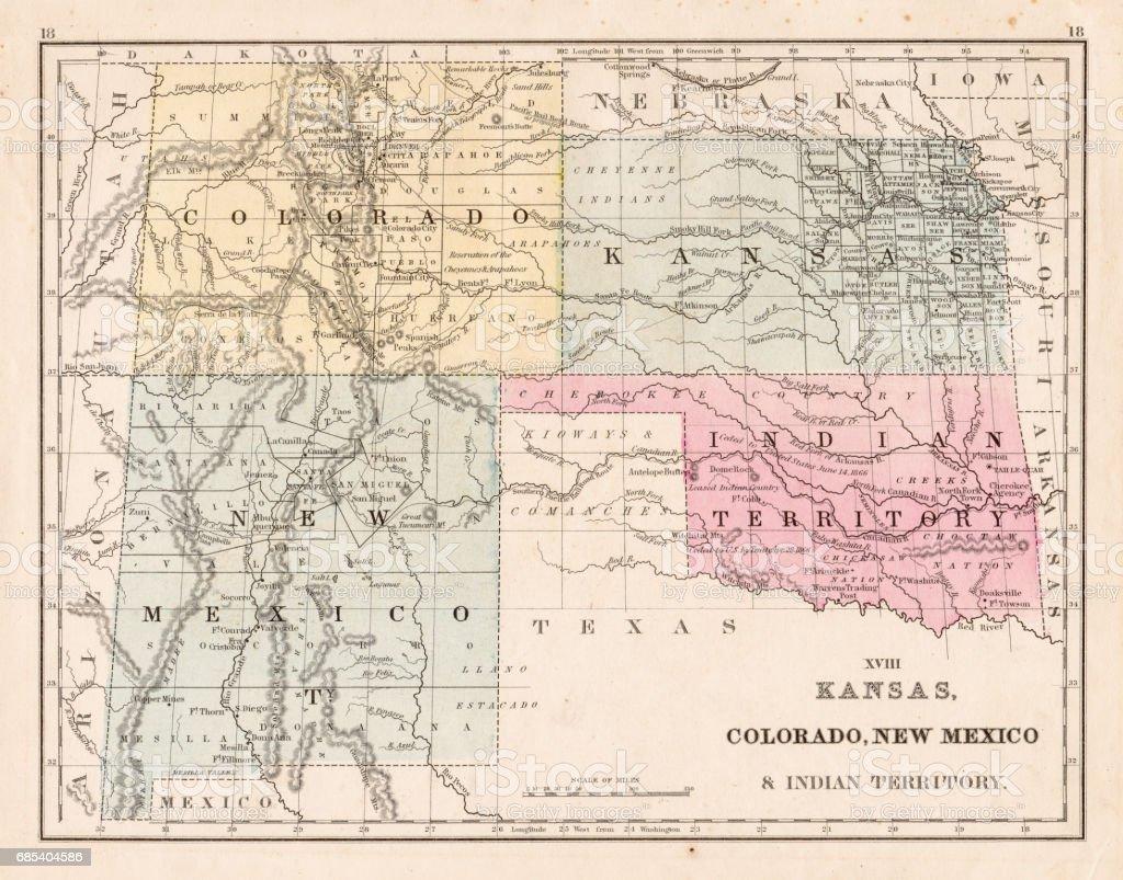 Kansas Colorado New Mexico Map 1867 Stock Vector Art More Images