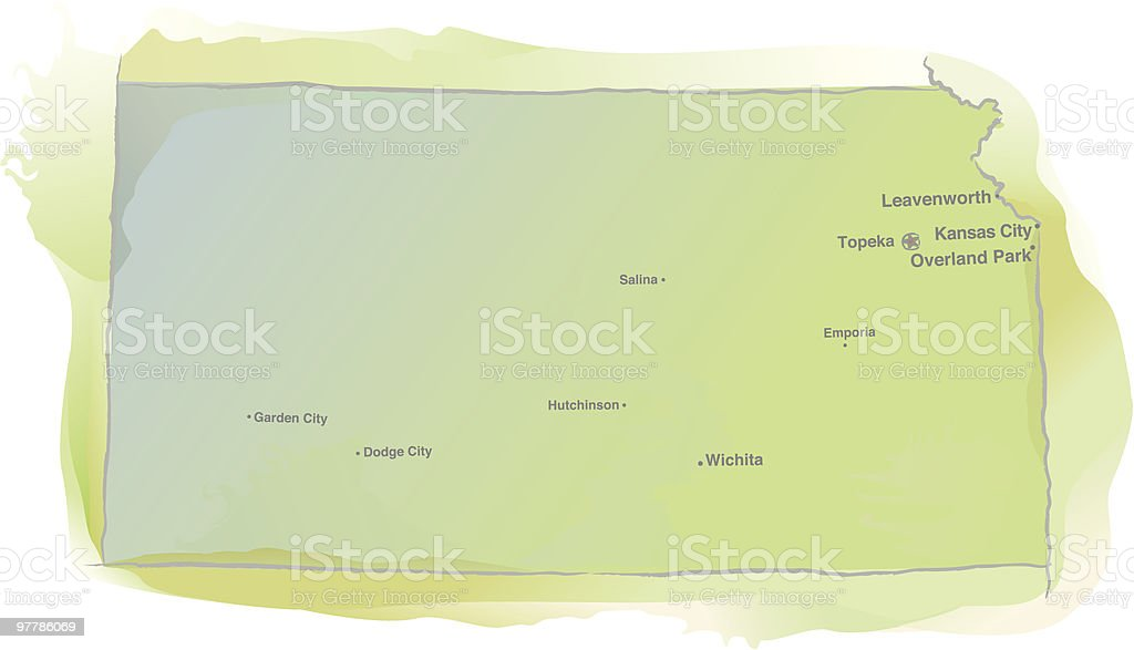 Kansas map - Watercolor style royalty-free stock vector art