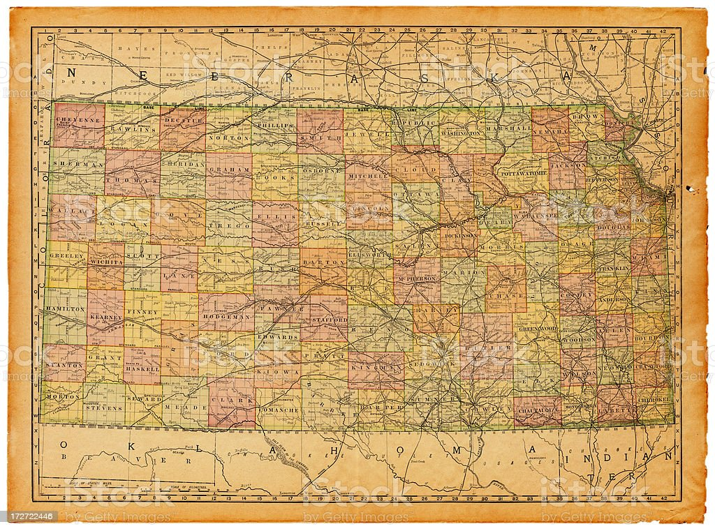 Kansas Old Map royalty-free kansas old map stock vector art & more images of antique