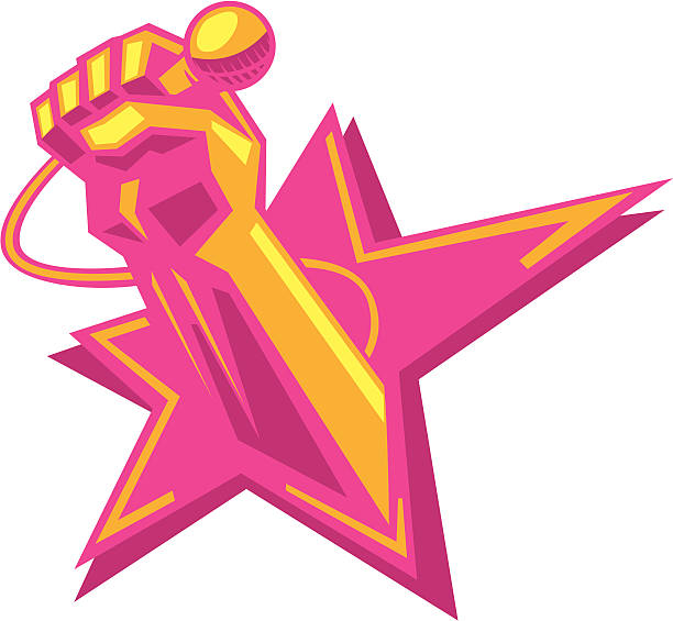 karaoke super star vector art illustration