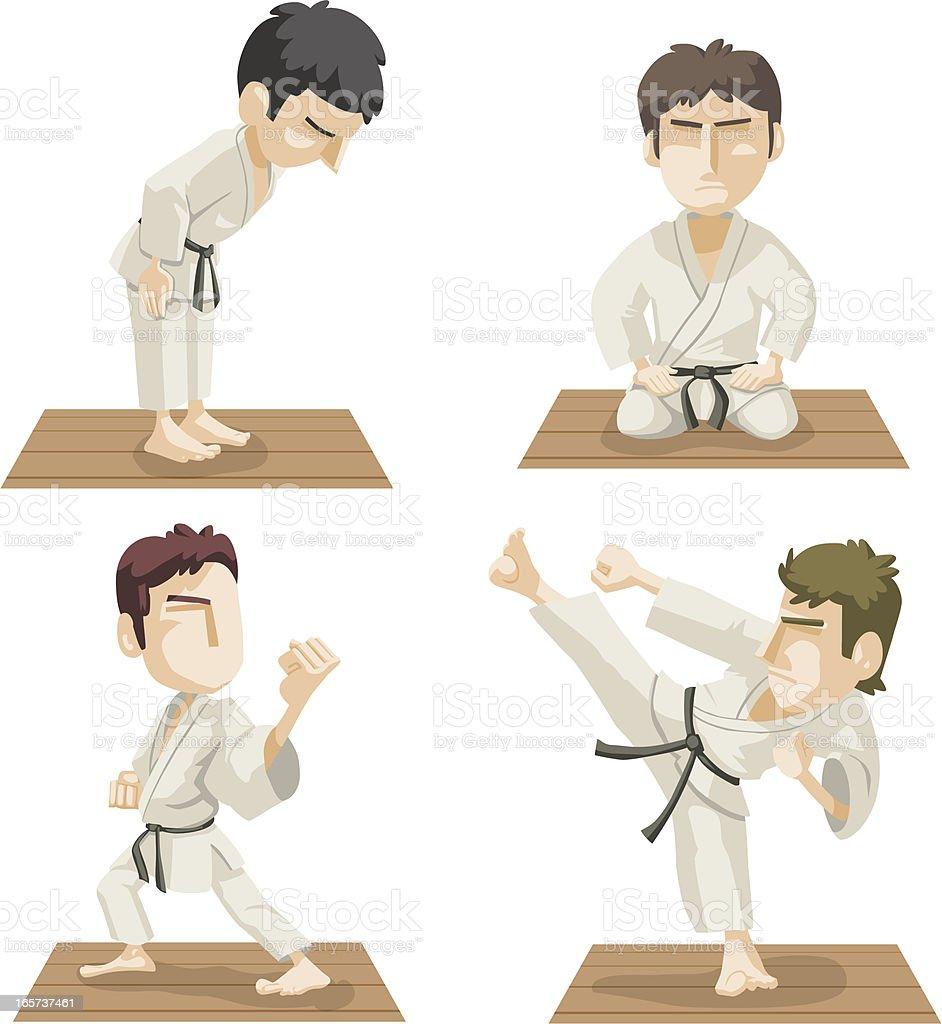 Karate ações - ilustração de arte em vetor