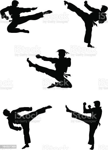 Karate Fighters Silhouettes Stockvectorkunst en meer beelden van Activiteit