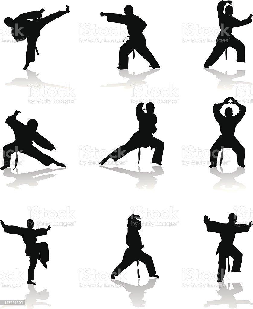 Karate Silhouette vector art illustration