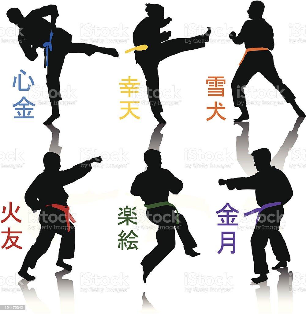 Karate Silhouettes vector art illustration