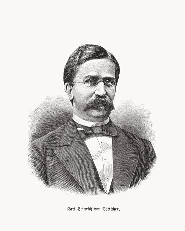 Karl Heinrich von Boetticher (1833-1907), German statesman, woodcut, published in 1893
