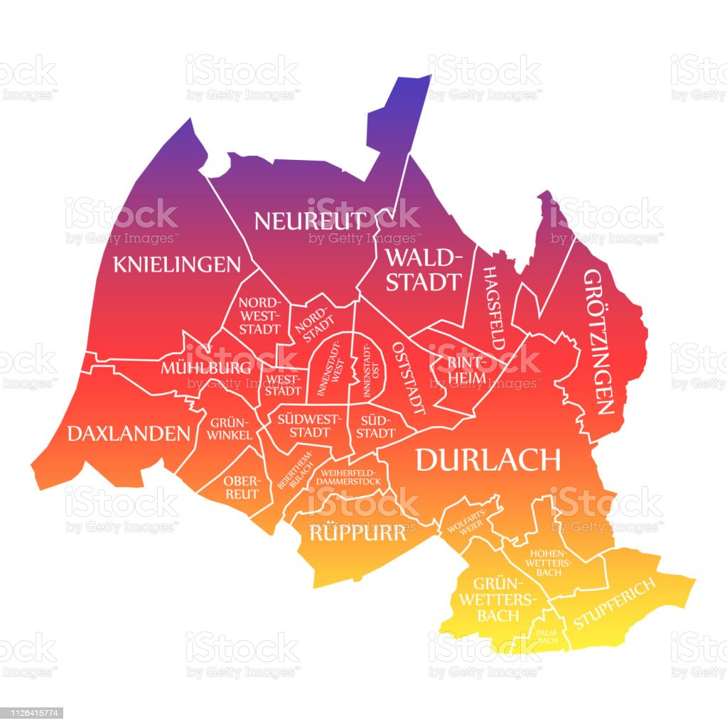 Karlsruhe Map Of Germany.Karlsruhe City Map Germany De Labelled Rainbow Colored Illustration