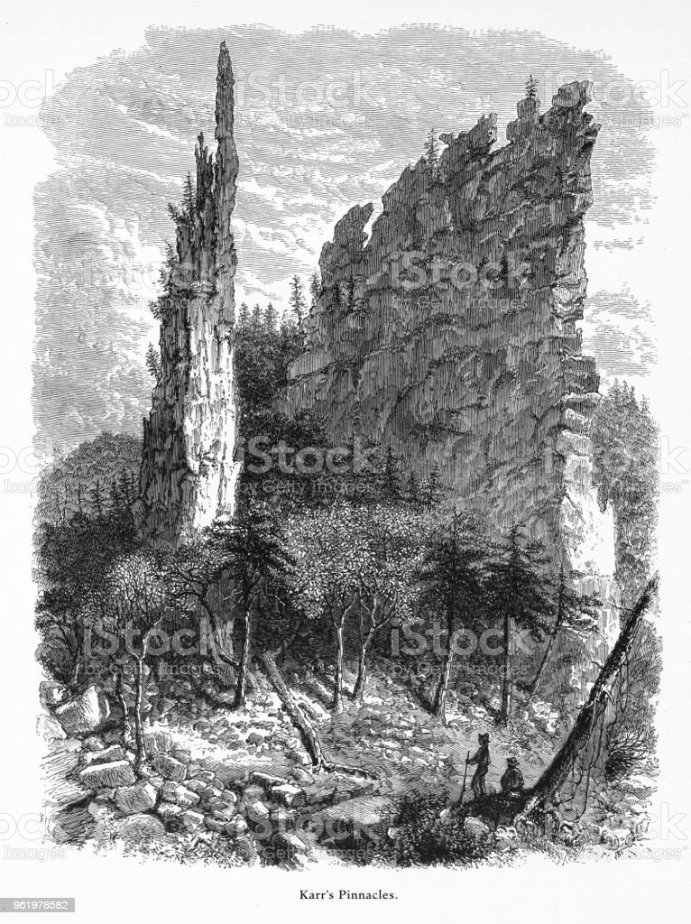 Karr's Pinnacles, Petersburg, West Virginia, United States, American Victorian Engraving, 1872 vector art illustration