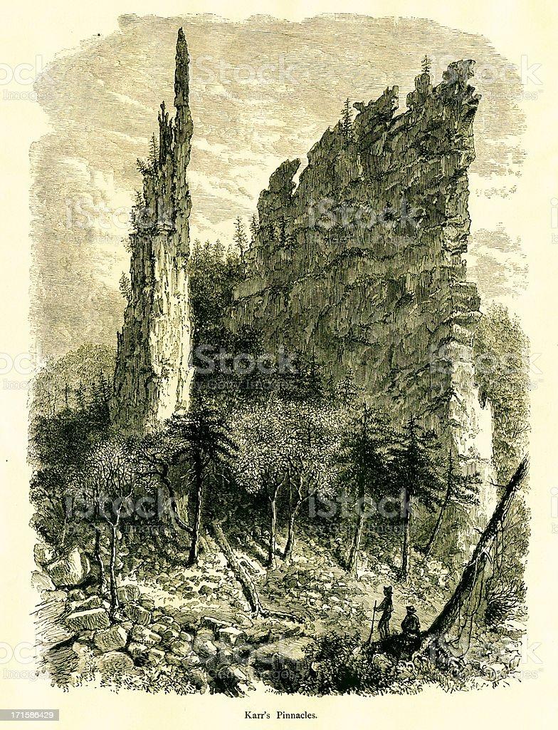 Karr's Pinnacles, West Virginia royalty-free stock vector art