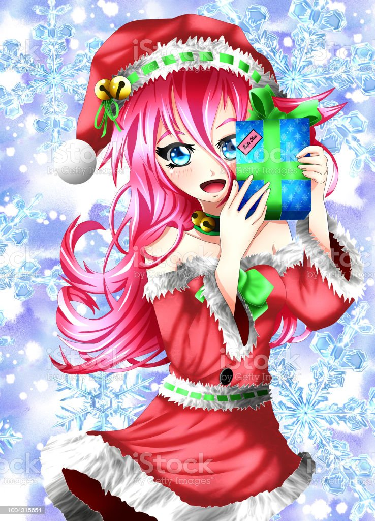 Christmas Anime.Kawaii Christmas Anime Girl Stock Illustration Download