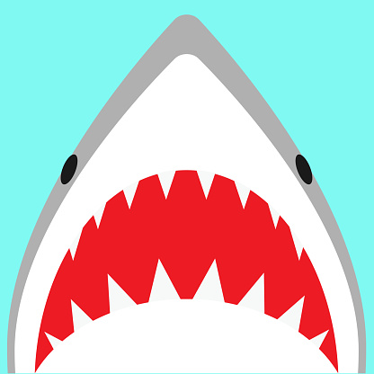 Kawaii shark attack illustration