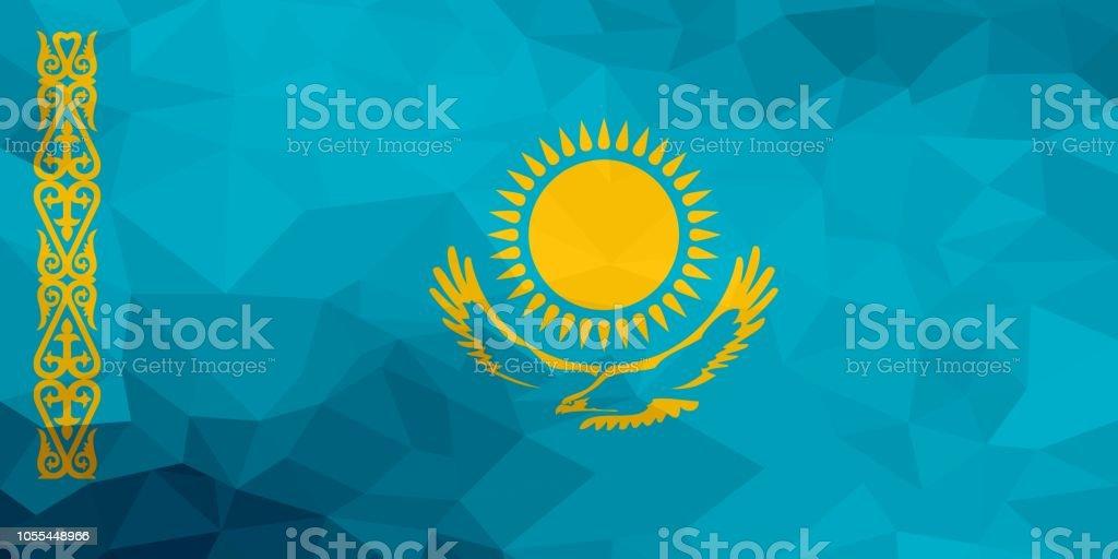 Kazakhstan polygonal flag. Mosaic modern background. Geometric design vector art illustration