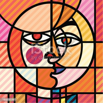 Illustration of a pop-art/cubist portrait created using flat colours