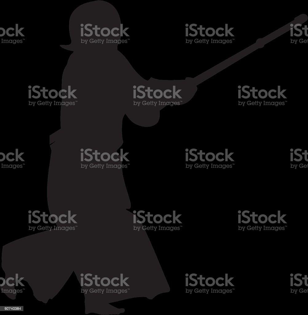 Kendo Kämpfer#3 silhouette Lizenzfreies kendo kämpfer3 silhouette stock vektor art und mehr bilder von aggression
