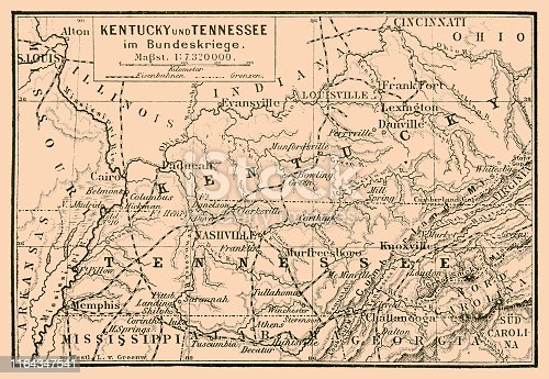 Illustration of a Kentucky and Tennessee in federal war map