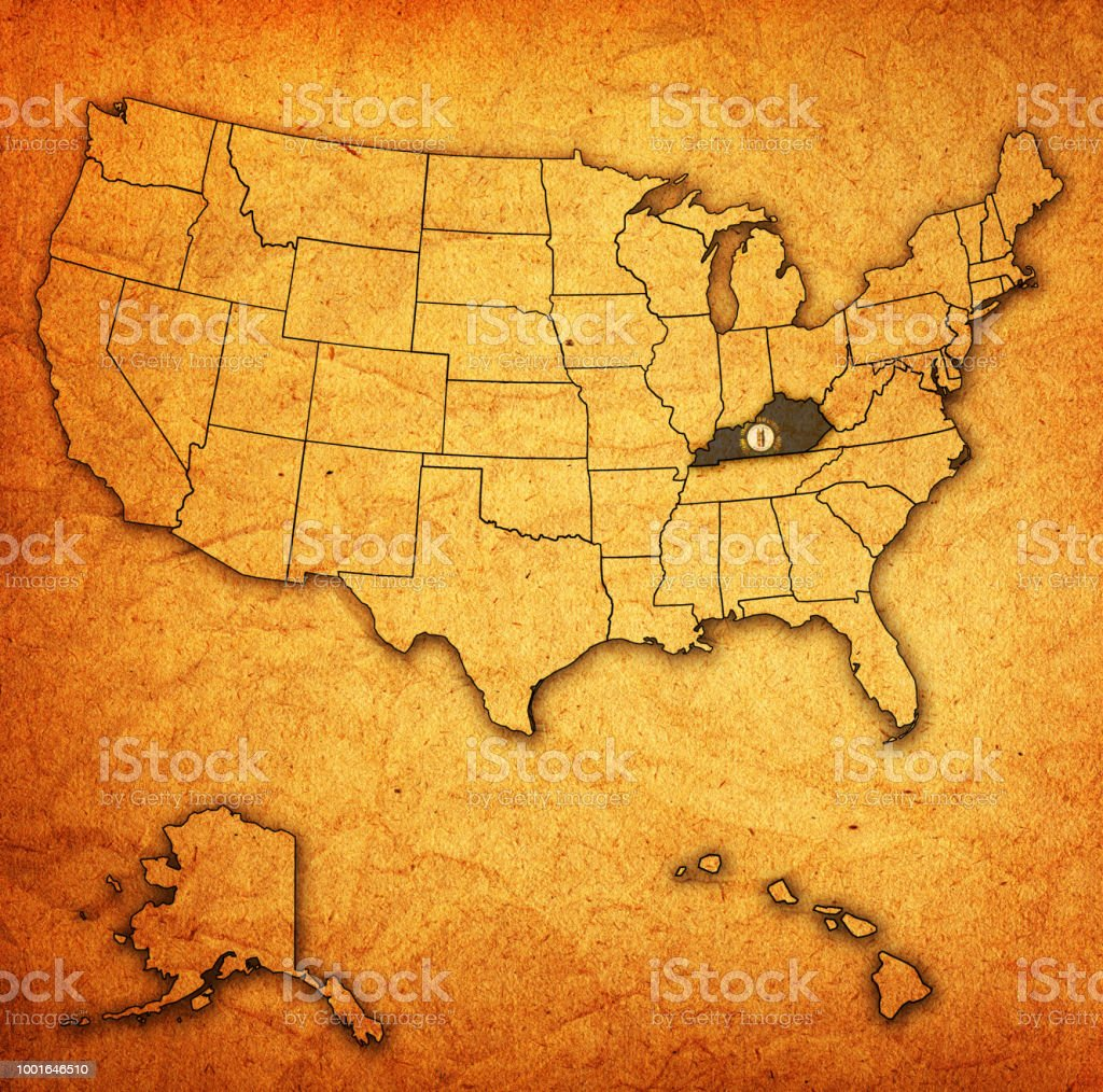 Kentucky On Usa Map.Kentucky Flag And Territory On Vintage Map Of Usa Stock Vector Art