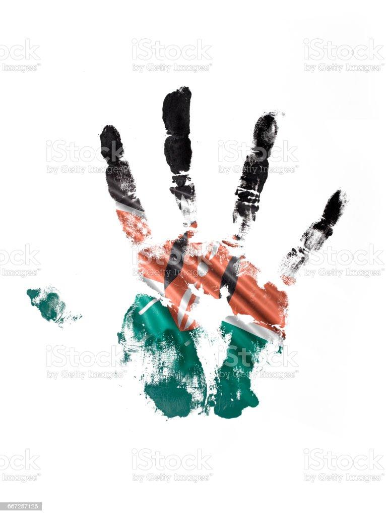 Kenya Hand Print Flag vector art illustration