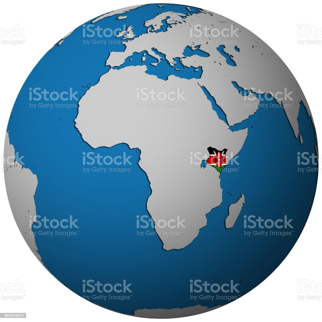 Kenya Territory With Flag On Map Of Globe Stock Vector Art & More ...