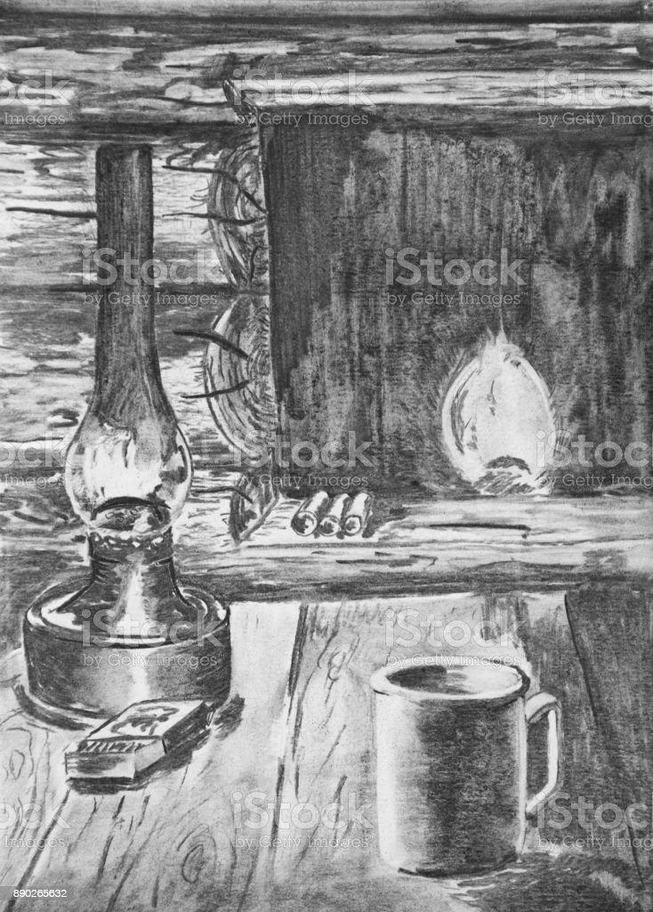A kerosene lamp on the table in the wooden house. vector art illustration
