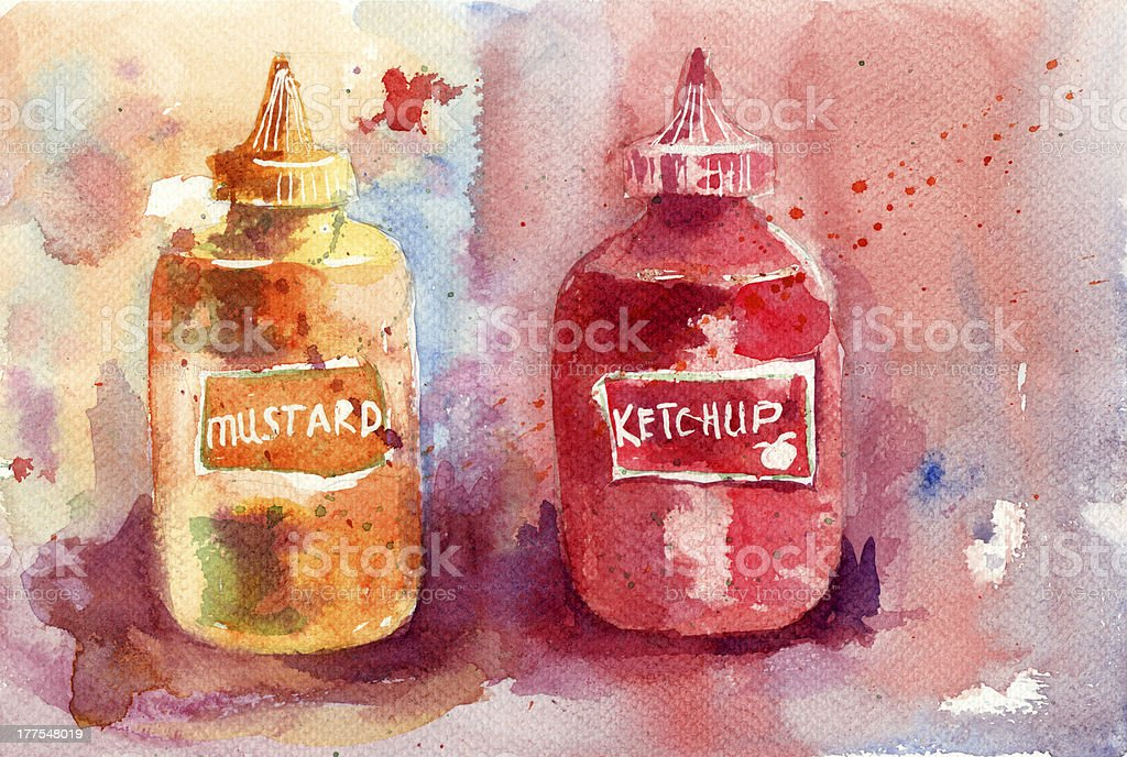 Ketchup and mustard bottles vector art illustration