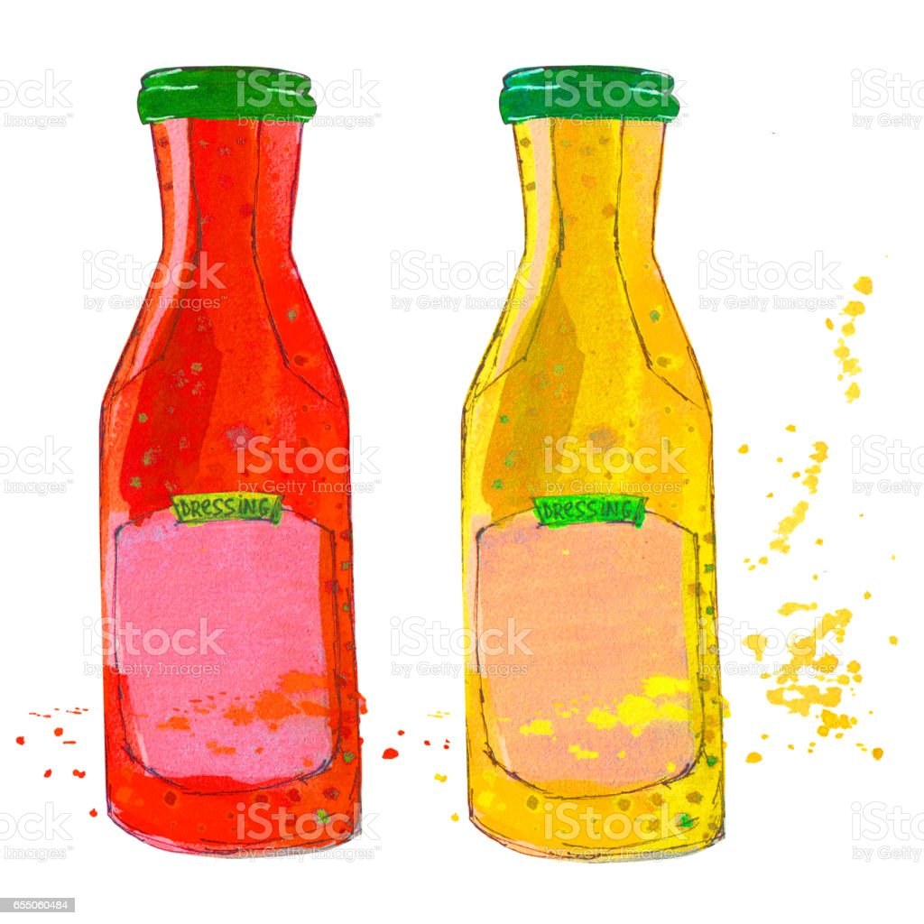 Ketchup and Mustard bottles with splashes. Watercolor sketchy illustration. vector art illustration