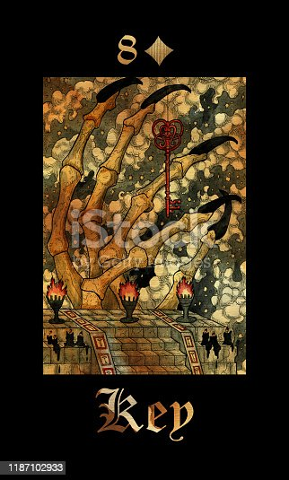 Key. Card of Lenormand oracle deck Gothic Mysteries.