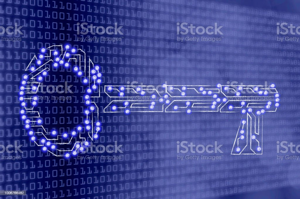 key made of electronic microchip circuit,  keywords or password vector art illustration