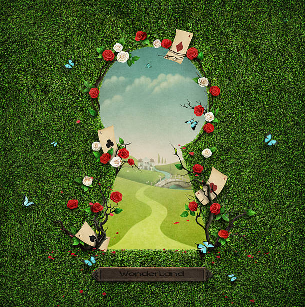 Keyhole Beautiful green background with roses and cards in keyhole. Computer graphics. keyhole stock illustrations