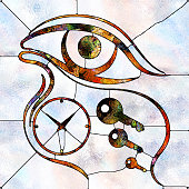 Eye, key and clock symbols executed in stained glass style on the subject of mysticism and concept of time subjectivity and observer dependence
