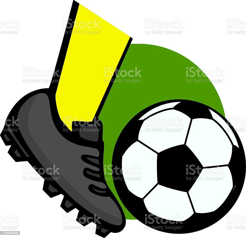 kicking a soccer ball vector art illustration
