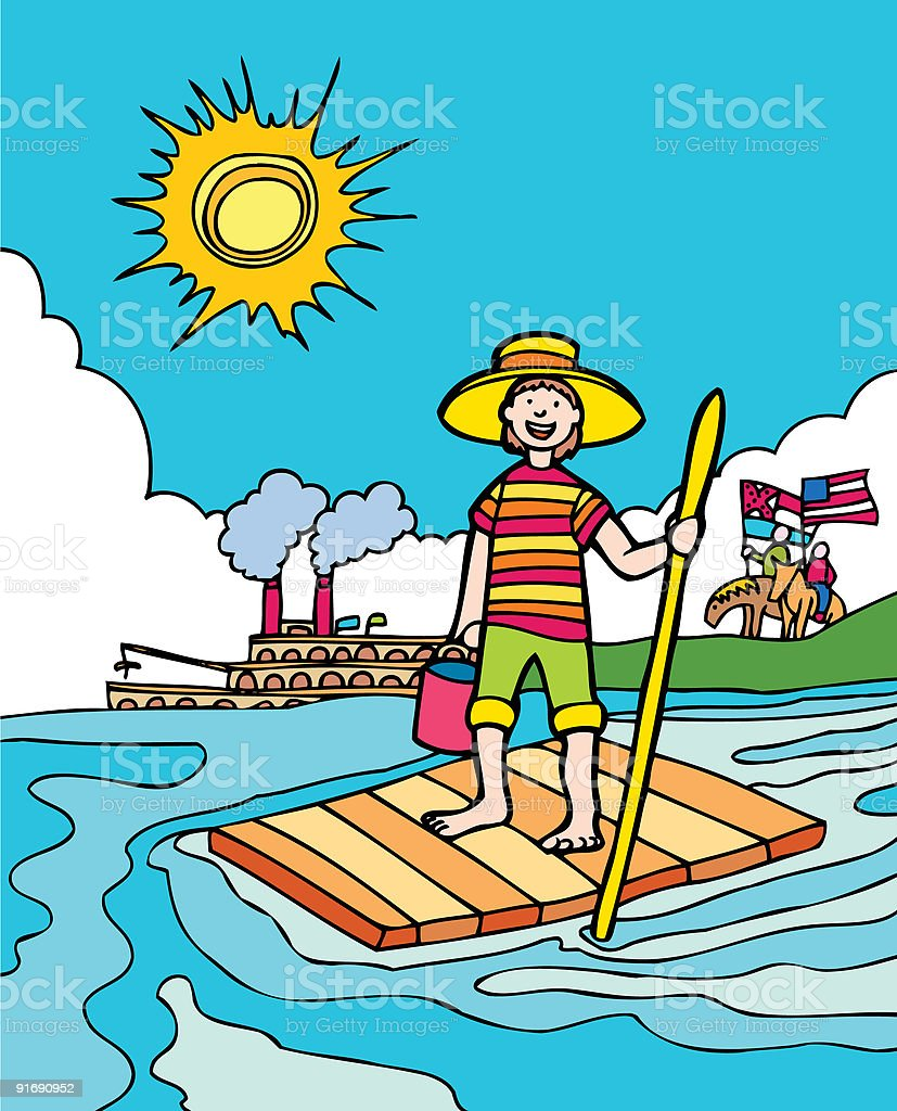 Kid Adventures: Summer in Mississipi royalty-free stock vector art