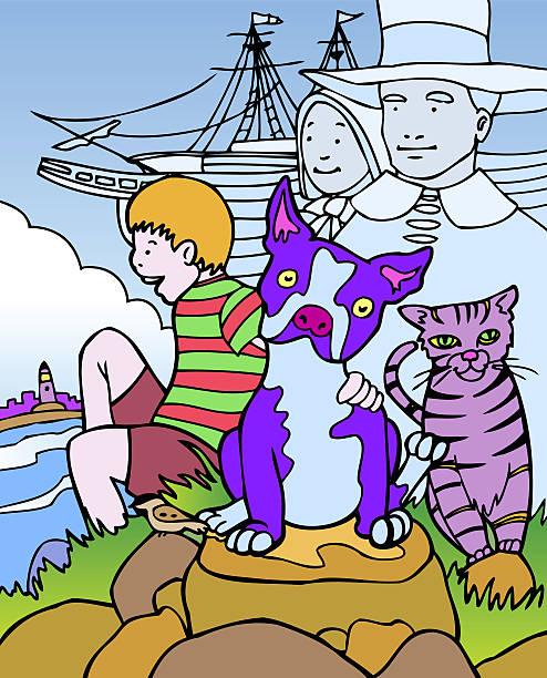 Kid Adventures: Trip to Massachusetts vector art illustration