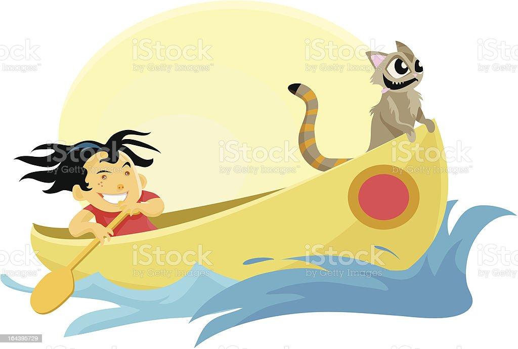 Kid and cat in a Canoe royalty-free stock vector art