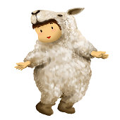 kid dresses in lamb costume