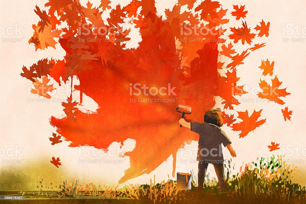 kid painting maple leaves shape on the wall - Illustration vectorielle