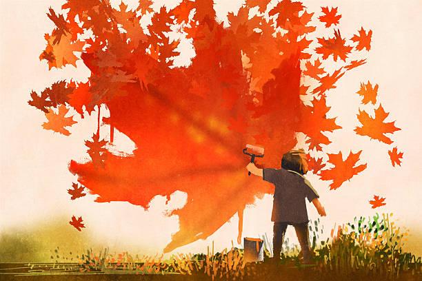 bildbanksillustrationer, clip art samt tecknat material och ikoner med kid painting maple leaves shape on the wall - children autumn