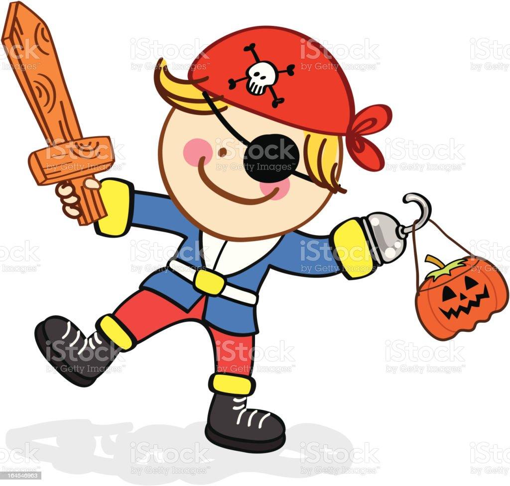 Niño En Traje De Pirata Halloween Ilustración Dibujo Animado - Arte ...
