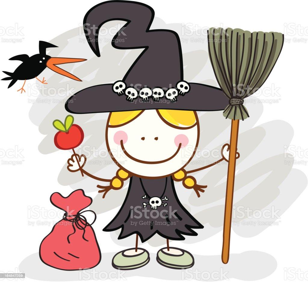 kid with witch halloween costume cartoon illustration stock vector