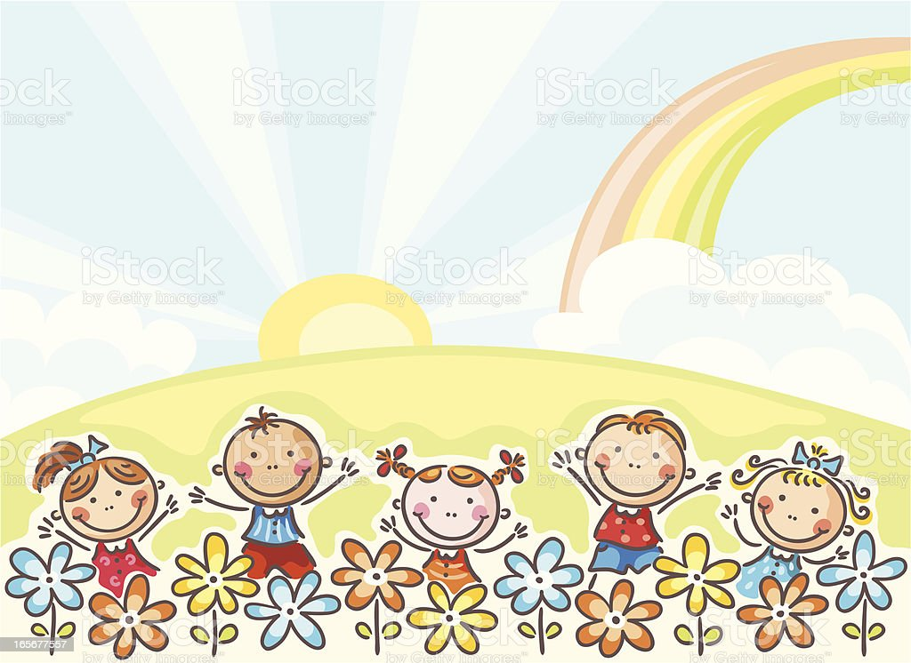 Kids and flowers royalty-free stock vector art