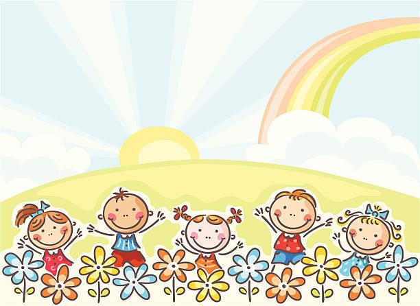 Děti a květiny vektorové umění ilustrace