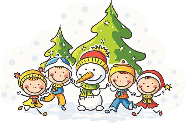 Děti a sněhulák vektorové umění ilustrace