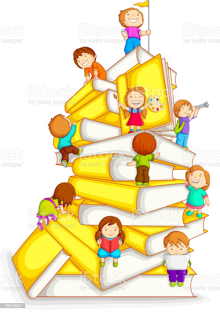Kids Climbing in Stack of Book royalty-free stock vector art
