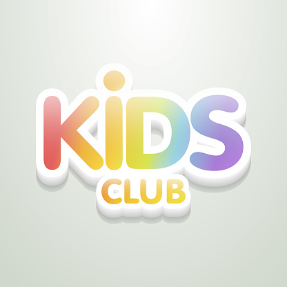 Kids Club Fun 3d Rainbow Letters In Light Background Vector Logo