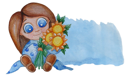 kids collection. Cute little girl sits with a bouquet of yellow flowers of sunflowers. Nearby is a blue background - a place to write text. Watercolor. Hand drawing. For kids design and decor