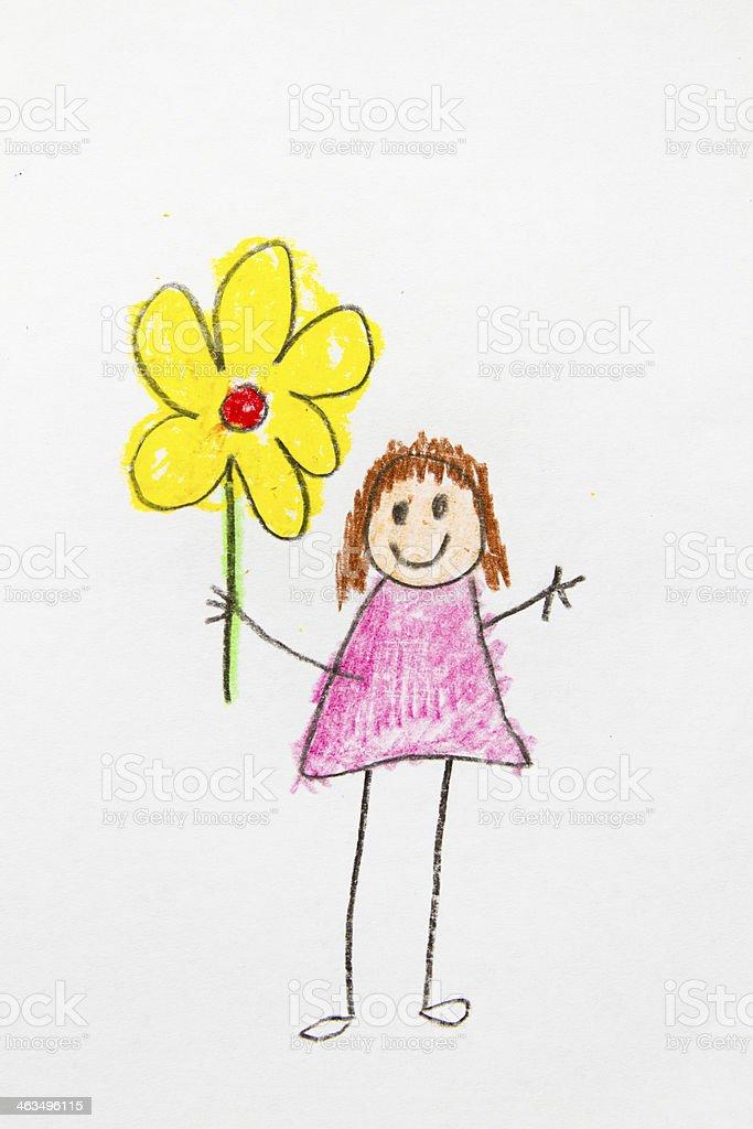 Kids Drawing holding Flower vector art illustration