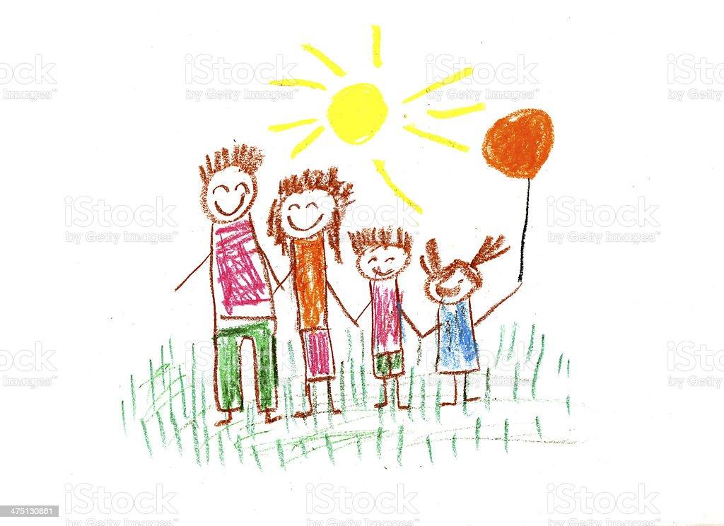 Kids drawing vector art illustration