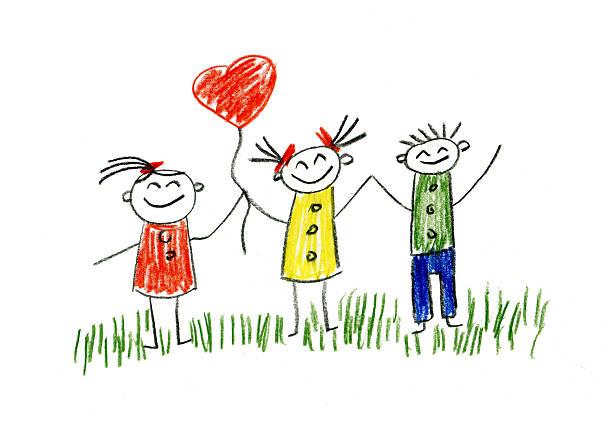 illustrazioni stock, clip art, cartoni animati e icone di tendenza di bambini disegno - compagni scuola
