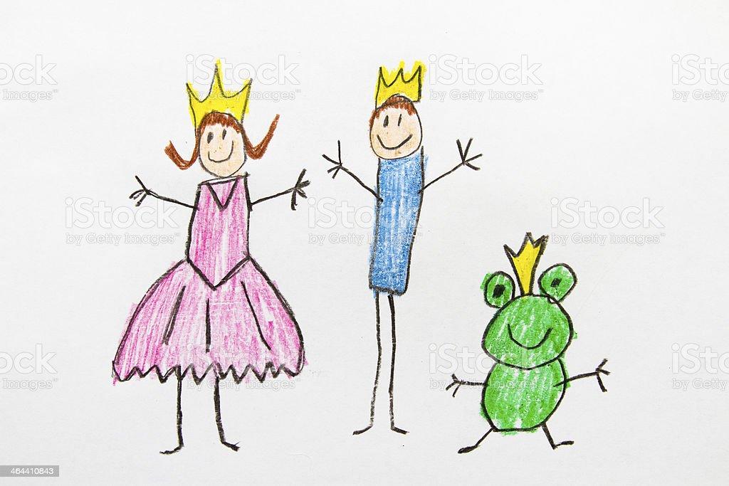 Kids Drawing Princess and Prince vector art illustration