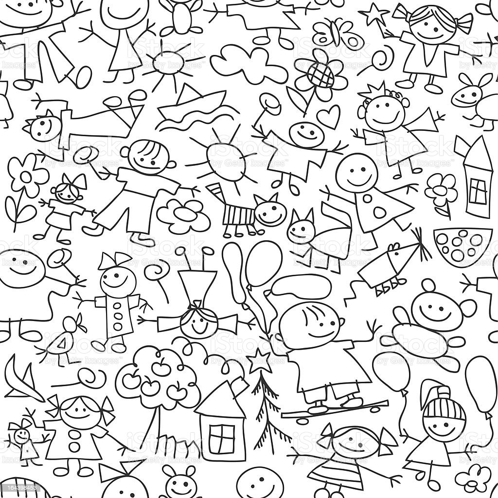 Kids Drawing Seamless Pattern Stock Vector Art More Images of Awe