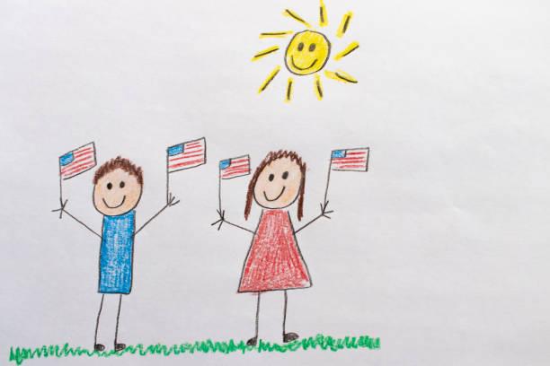 çocuklar abd bayrakları çizim - family 4th of july stock illustrations